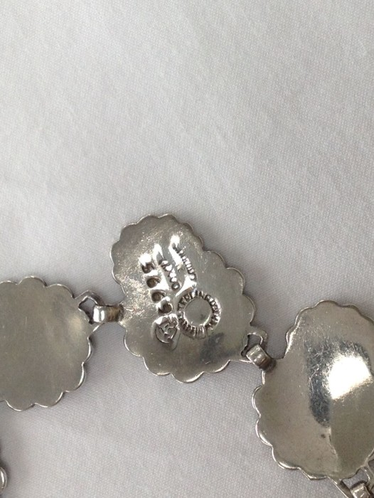 Vintage Margot de Taxco Mexico Daisy Cluster Enamel Sterling Silver Choker Necklace