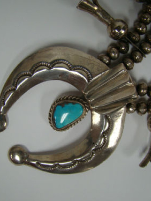 Rare Sterling Silver Native Indian Turquoise Squash Blossom Necklace